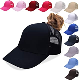 NeuFashion Ponycap Messy High Bun Ponytail Adjustable Mesh Trucker Baseball Cap Hat for Women