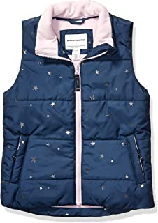 Amazon Essentials Heavy-Weight Puffer Vest Down-Outerwear-Vests, Navy with Foil Stars, XS