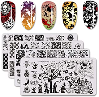 BEAUTYBIGBANG 4Pcs Nail Stamping Plate Halloween Theme - Pumpkin Skull Ghost Witch Image Plate Nail Art Design Stamp Kit Manicure Template Set