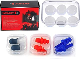 Noise Cancelling Ear Plugs by EarJoy - for Swimming Sleeping Musicians. Reusable. for Shooting Swim Concerts Sleep. Earplugs Sound Blocking. Silicone Base. Best Sound Reduction.