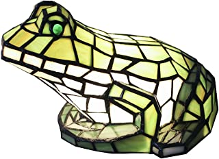 Bieye L10225 Frog Tiffany Style Stained Glass Animal Accent Table Lamp, Night Light, Green, 10