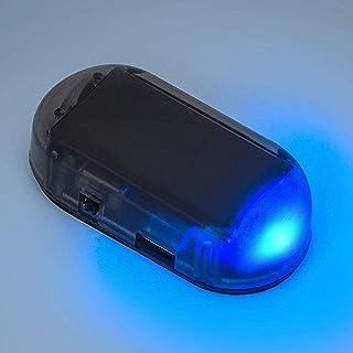 PerfecTech Car Solar Power Simulated Dummy Alarm Warning Anti-Theft LED Flashing Security Light with New USB Port (Blue)