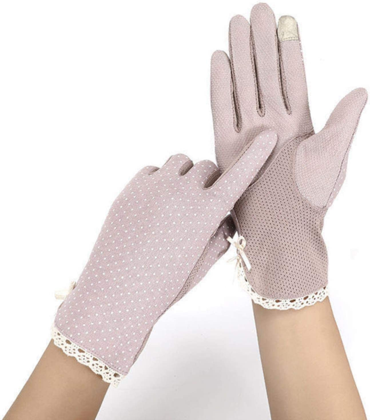 Spring Summer Driving Gloves Women Touch Screen Thin Cotton Gloves Lace UV Sun Against Non Slip Riding Glove