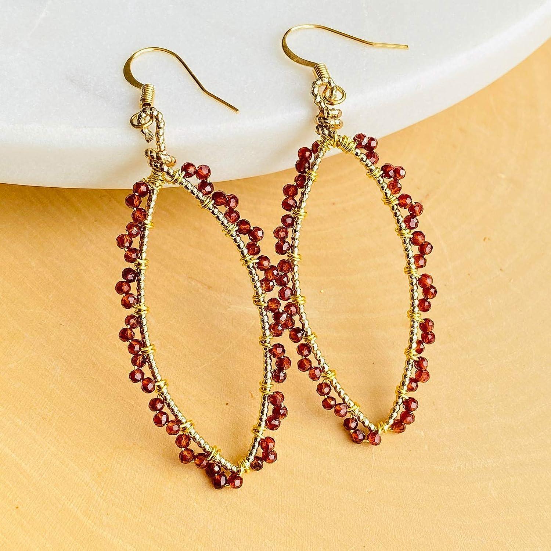 Lamora Garnet half Hoop Dangle Earrings Natural Cry Gemstone Genuine free shipping