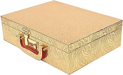 Kuber Industries Wooden Three Rod Bangle Storage Box (Gold) -CTKTC8684