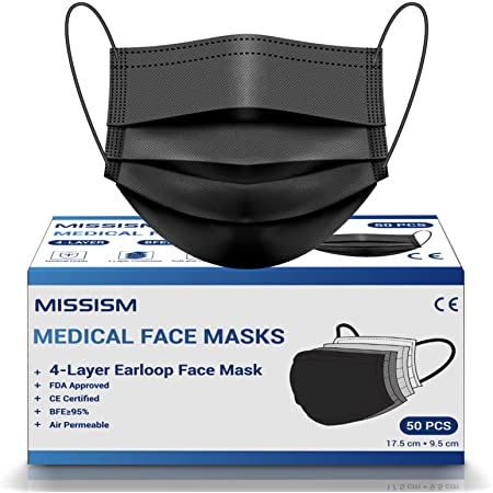 4 Layer Face Mask Disposable Black 50 pcs, Protective Breathable Safety Face Mask with Metal Nose Wire Clip and Soft Elastic Earloops Mask for Family Adult Teens