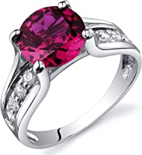 Created Ruby Solitaire Style Ring Sterling Silver 2.50 Carats Sizes 5 to 9