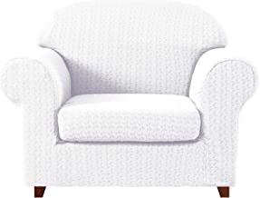 subrtex 2-Piece High Stretch Slipcovers Durable Soft Jacquard Fabric, 1 Seater Furniture Protector for Armchair Machine Washable Chair Sofa Covers (White)