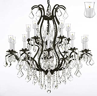 Wrought Iron Chandelier Crystal Chandeliers Lighting With Candle Votives H36