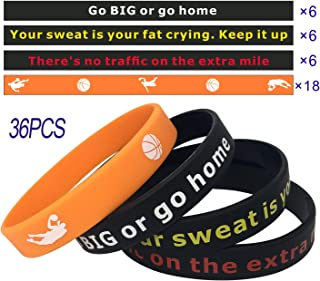 Inspirational Quotes Silicone Bracelets Wristbands with Motivational Sayings for Basketball,36PCS Sport Theme Silicone Wrist Bands