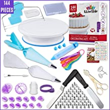Kitchen Strike Cake Decorating Kit - 144 Piece Baking supplies With Bonus Accessories Of Fondant Tools, Spoons, Piping Bag...