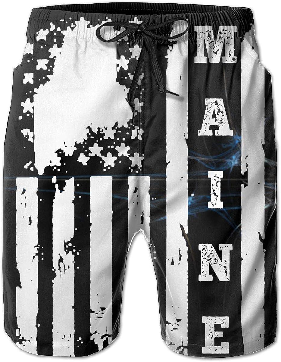 XDBJBJNSTDK Rare depot Maine State American Flag Shorts Casual Men's T Swim