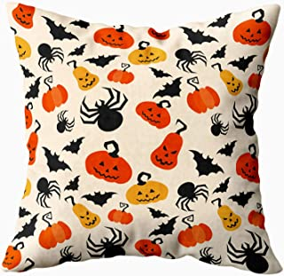 ROOLAYS Halloween Throw Pillow Covers, Square Throw Pillowcase Covers 16X16Inch Pattern Halloween Pumpkin Bat Spider and Other Items on Theme Bright Cartoon Both Sides Decor Cushion,Yellow Black