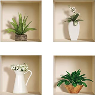 The Nisha Art Magic 3D Vinyl Removable Wall Sticker Decals DIY, Set of 4, Green and White Vase 400