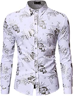 HOP Fashion Mens Luxury Gold Rose Flowers Print Shirts Long Sleeve Slim Fit Button Down Dress Shirts for Party/Wedding/Prom