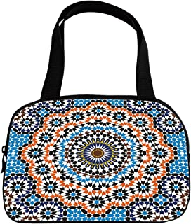 Polychromatic Optional Small Handbag Pink,Vintage,Moroccan Ceramic Tile Inspired Floral Arabic Old Fashioned Cultural Mosaic Print,Multicolor,for Girls,Print Design.6.3