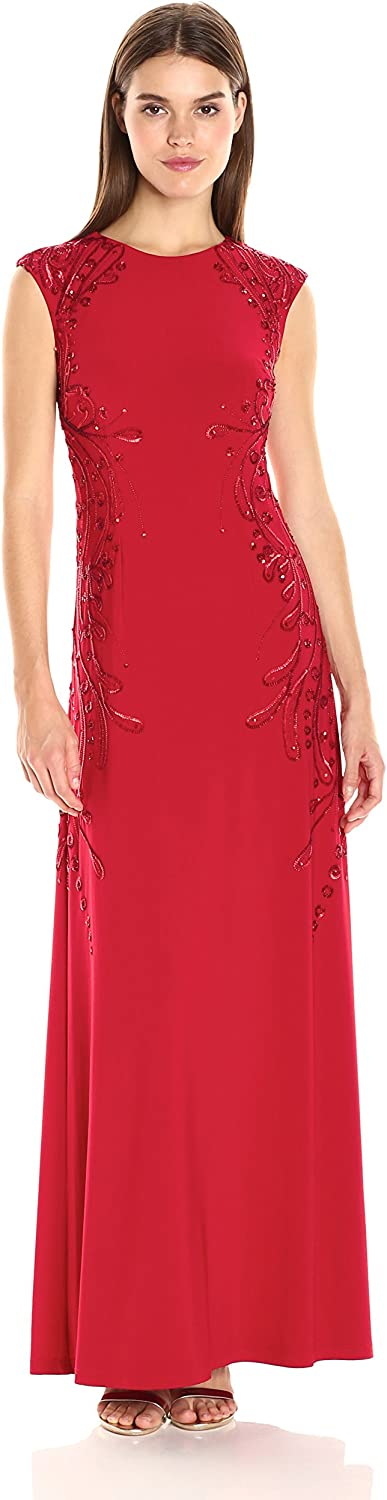 Adrianna Papell Womens Cap Sleeve Jersey Gown with Beading Detail Dress