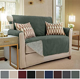 Gorilla Grip Original Slip Resistant Loveseat Slipcover Protector, Seat Width Up to 54 Inch Suede-Like, Patent Pending, 2 Inch Straps, Hook, Furniture Cover for Kids, Dogs, Pets, Love Seat, Dark Sage