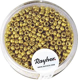 Rayher 1406806 Rocailles, 2,6 mm ø, perlmutt, Dose 17g, gold, nicht wa