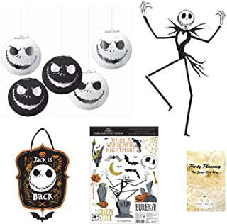 Nightmare Before Christmas Party Decorations, Jack Skellington & Sally Design, 22 Pieces, Mini Lanterns, Paper Cutout, Hanging Sign and Window Stickers