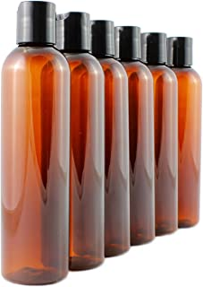 8oz Empty Plastic Bottles with Disc Top Flip Cap (6 pack); BPA-Free Containers For Shampoo, Lotions, Liquid Body Soap, Creams (8 ounce, Amber Brown)