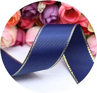 10 Yards 10MM/25MM/38MM Glitter Gold Edge Grosgrain Ribbon for Hair Bows/Gift Packaging DIY Handmade Materials Y19042101,370,Width 38MM