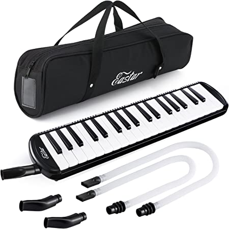 Eastar 鍵盤ハーモニカ ピアニカ ホース+唄口セット 37鍵 軽量 ABS樹脂 防錆 2 xショートマウスピース 2 x延長ホース 1×キャリーバッグ (ブラック 37鍵)
