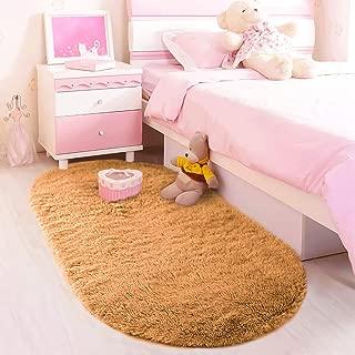 LOCHAS Ultra Soft Children Room Mat Morden Shaggy Area Rugs Home Decor, 2.62 Feet X 5.24 Feet (Khaki)