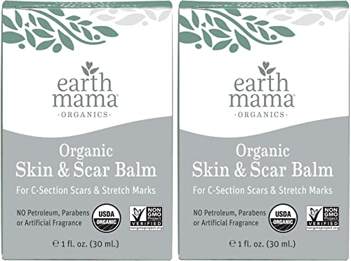 Organic Skin And Scar Balm by Earth Mama Reduces the Discomfort and Appearance of C-Section Scars and Pregnancy Stret...