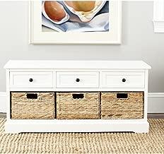 cream storage bench with baskets