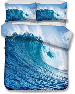 Ocean Duvet Cover Set Full Size, Tropical Island with The Palm Trees and Sea Beach Nature Theme Print, A Decorative 3 Piece Bedding Set with 2 Pillow Shams, Turquoise Blue