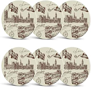 London Drink Coasters,Sketch of National British Emblems Big Ben Houses of Parliament Bus Flag for Men Women & Holiday PartySet of 6
