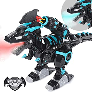 SNAEN Multifunctional Remote Robot Dinosaur with Mist Spray/ Soft Bullets Shooting, Interactive Electronic Fire Breathing Dragon with Programming, Intelligent Walking T-rex Toy Gift for Kids (Black)