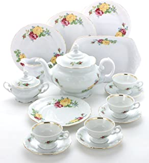 Wawel Tea with Grace 16-Piece Fine China Tea Set for Children (Rose Bouquet) - Service for Four