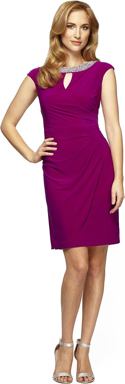 Alex Evenings Women's Short Cap Sleeve Dress with Beaded Neckline