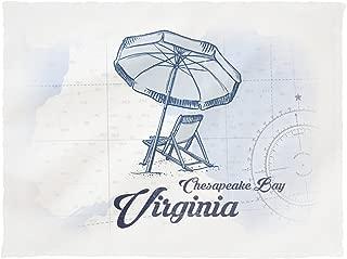 Lantern Press Chesapeake Bay, Virginia - Beach Chair and Umbrella - Blue - Coastal Icon 72176 (60x80 Poly Fleece Thick Plush Blanket)