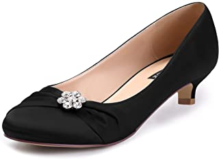 ERIJUNOR Women Closed Toe Comfort Kitten Heels Rhinestones Satin Wedding Evening Dress Shoes