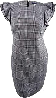 Womens Office Wear Plaid Sheath Dress