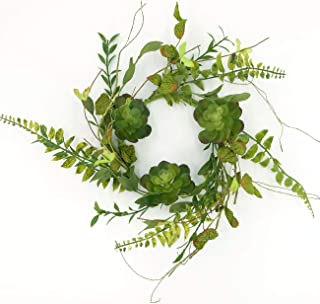 idyllic 14 Inches Artificial Wreath Green with Succulents and Leaves for The Front Door by Pure Garden, Home Décor, Housewarming Gift, Spring Farmhouse, Wedding Party Christmas Décor