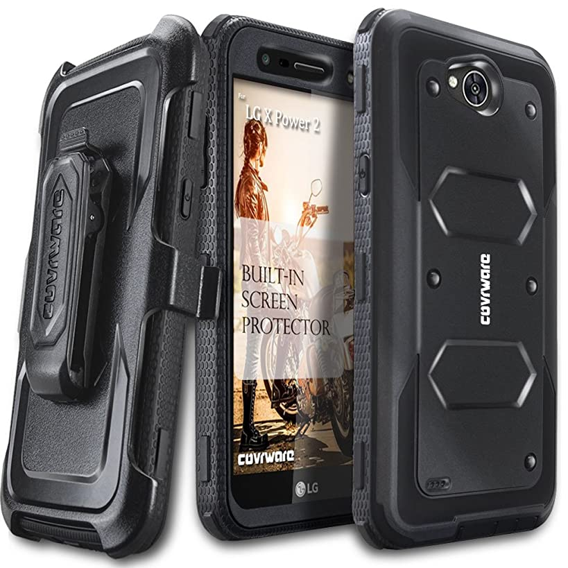 LG X Power 2 / Fiesta 2 / X Charge/Fiesta LTE / K10 Power Case, COVRWARE [Aegis Series] w/Built-in [Screen Protector] Heavy Duty Full-Body Rugged Holster Armor Case [Belt Clip][Kickstand], Black