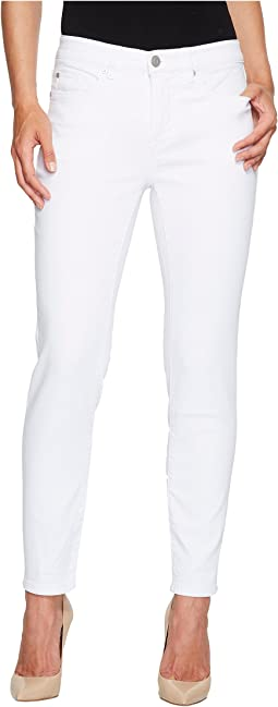 "Five-Pocket Ankle Knit Denim 28"" Jeggings in White"