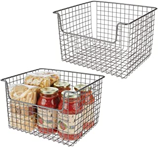 mDesign panier de rangement en fil de fer (lot de 2) – boîte en métal flexible pour la cuisine, le garde-manger, etc. – pa...