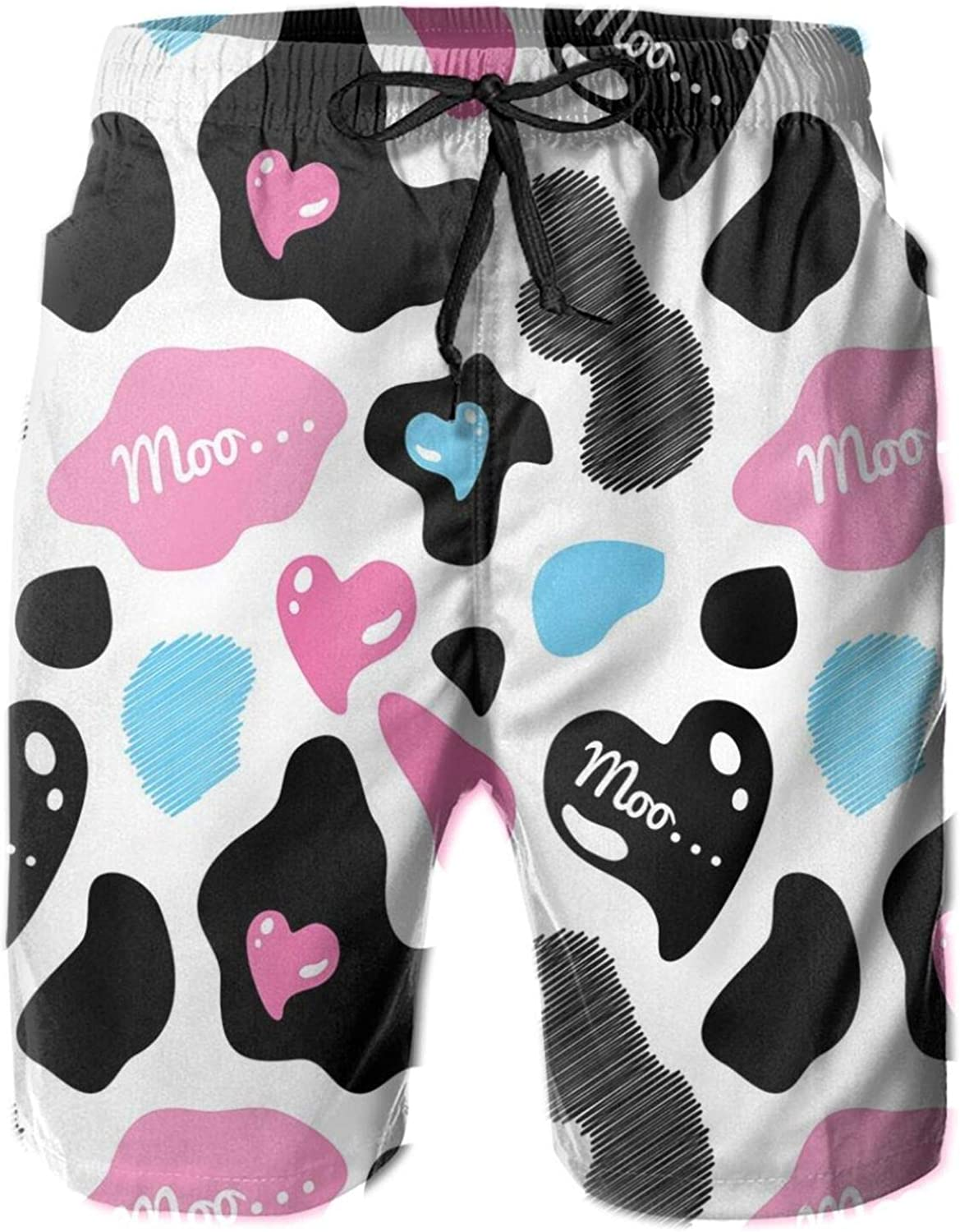 Cow Hide with Hearts Moo Barnyard Love Valentines Abstract Design Drawstring Waist Beach Shorts for Men Swim Trucks Board Shorts with Mesh Lining,M