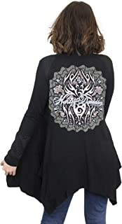 Womens Itsy Bitsy Tribal Graphic Quilted Open Front Black Cardigan