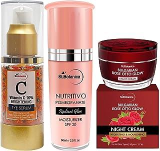 StBotanica Radiant Glow Combo | Vitamin C Eye Serum 30ml + Pomegranate Moisturizer SPF30 60ml + Bulgarian Rose Night Cream...