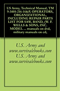 US Army, Technical Manual, TM 9-3405-216-14&P, OPERATORS, ORGANIZATIONAL, INCLUDING REPAIR PARTS LIST FOR SAW, BAND, (W. F. WELLS & SONS, INC. MODEL L-9), ... manuals on dvd, military manuals on cd,