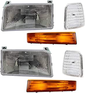 6 Piece Set Headlights w/Park Signal Corner & Side Marker Lamps Replacement for Ford Bronco F150 F250 F350 Pickup Truck