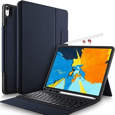 Yocktec Tastatur H lle f r iPad Pro 12 9 2018  QWERTZ Deutsches Layout   Leicht Alles-in-Einem Bluetooth Tastatur Schutzh lle mit Standfunktion f r Apple iPad Pro 12 9 Zoll 2018 Tablet  Blau