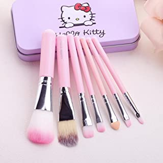 TECHICON Skinplus Hello Kitty Set of 7 Pieces Complete Makeup Mini Brush Kit with a Storage Plastic Box