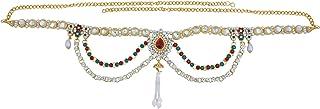 Memoir Brass Gold Plated,Kundan CZ, 3 Strand Ethnic Kamarband Traditional Waistbelt Women Bridal Jewellery Latest